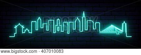 Blue Neon Skyline Of Taipei. Bright Taipei City Long Banner. Vector Illustration.