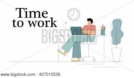 Time To Work. Time Concept. Effective Use Of Time. Self-motivation. Vector Illustration