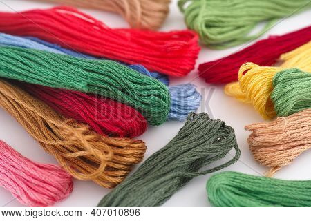 Colorful Cross Stitch Embroidery Threads. Close Up.