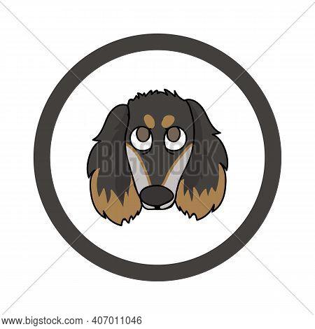 Cute Cartoon Saluki In Circle Puppy Vector Clipart. Pedigree Kennel Doggie Breed For Kennel Club. Pu
