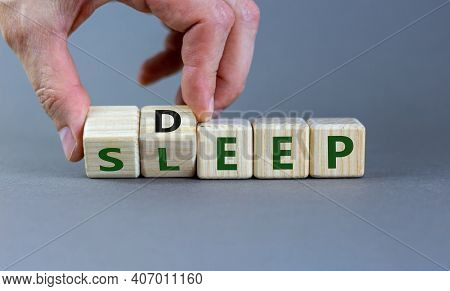 Sleep Deep Symbol. Turned Wooden Cubes With Words Sleep Deep. Beautiful Grey Background, Copy Space.