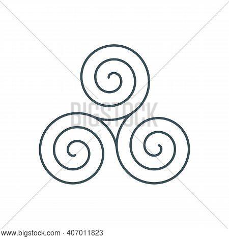 Thin Line Celtic Triskelion Symbol. Outline Triple Spiral Icon. Linear Triskele Logo. Lineart Triske