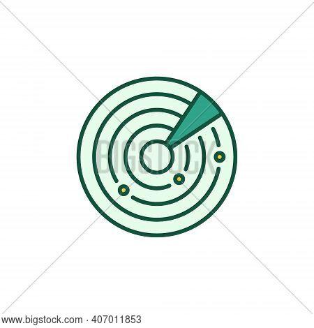 Radar Display Vector Concept Round Colored Icon Or Logo Element