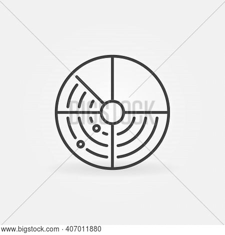 Radar Hud Display Vector Round Concept Icon Or Symbol In Thin Line Style