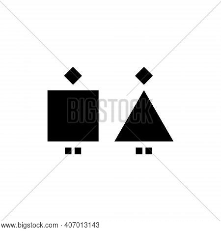 Man And Woman Geometric Abstract Icon. Male And Female Sign For Restroom. Girl And Boy Wc Pictogram