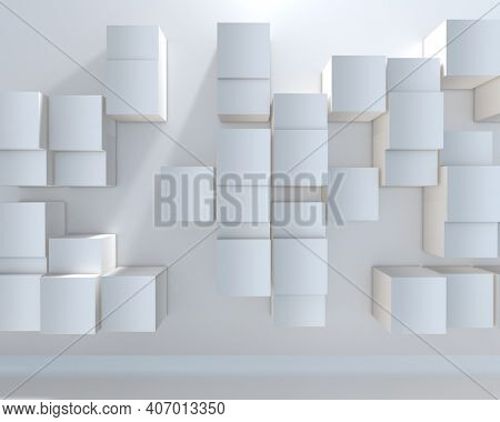 3D render of an abstract background with a wall of extruding cubes