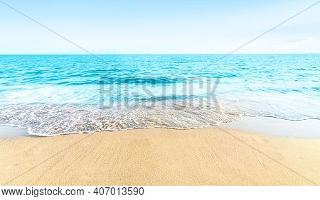 Empty Beach With Sand And Turquoise Tropical Sea Landscape