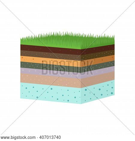 Structure Of Soil Layers Diagram Vector Illustration, Flat Soil Of Different Layers And Top Layer Of
