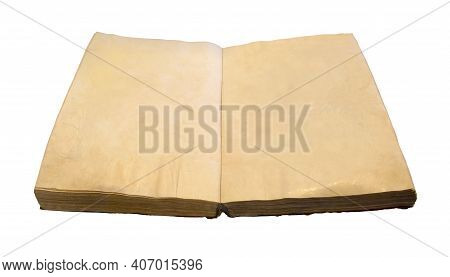 Ancient Old Opened Book With Yellow Blank Pages. Antique Manuscript On Isolated White Background