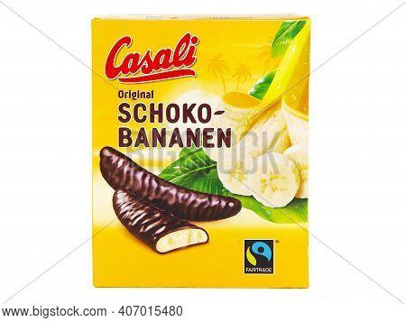 Bucharest, Romania - January 2, 2017. Casali Schoko-bananen Box, Foamy Banana Mousse Made With Genui