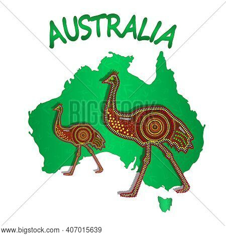 Map Of Australia With Two Emu Isolated On White Background. Australian Continent. Australia Aborigin