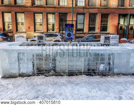 Chicago, Il February 5, 2021, Outside Outdoors Real Ice Bar Counter For Pb&j: Pizza Beer And Jukebox