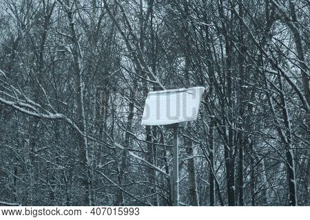 Photovoltaic Panel Covered By Snow. Fail Of Solar Panels On Snow Covered In Winter. Problems In The