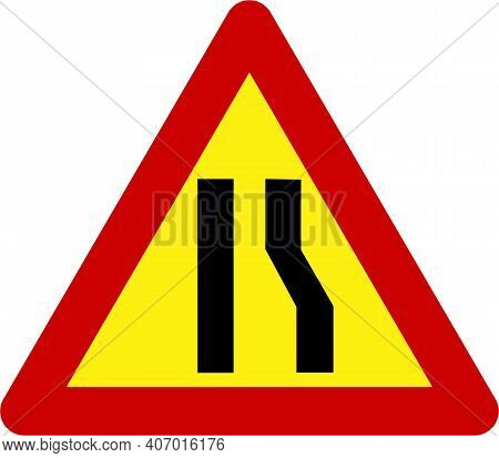 Warning Sign With Narrow Road On Right Symbol