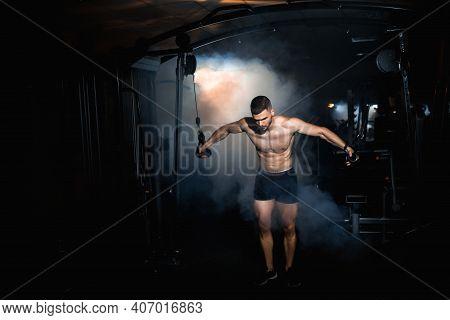 Brutal Strong Bodybuilder Athletic Man Pumping Up Muscles Workout Bodybuilding Muscular Bodybuilder