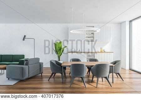 White Living Room With Kitchen Set And Dining Table, Kitchen Shelves With Dishes, Parquet Floor. Ope