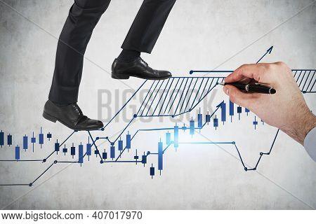 Business Man Legs Climbing Up On Financial Stock Market Chart. To Beat The Market. Financial Analysi