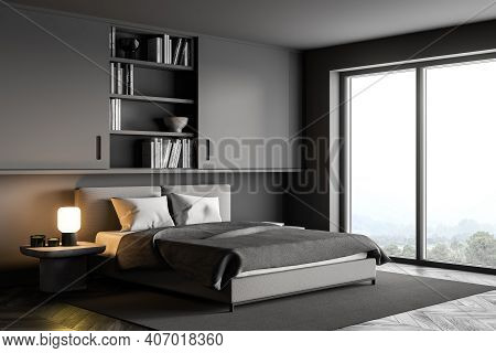 Dark Grey Bedroom With Bed And Linens On Carpet And Bookshelf, Near Window, Side View. Grey Modern M