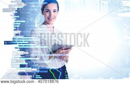 Smiling Business Woman Using Tablet With Business Report Hologram. Business And Financial Success Co
