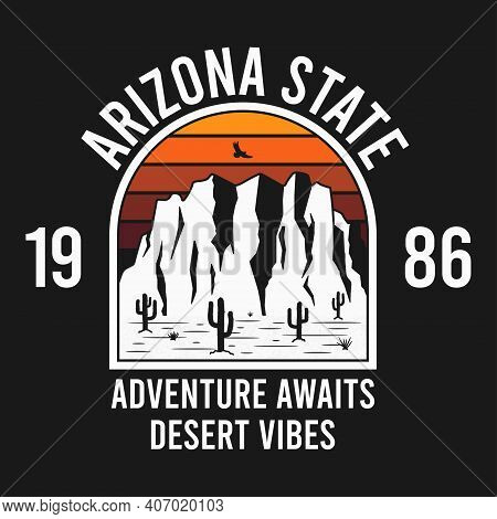 Arizona T-shirt Design With Rocky Mountains And Eagle. Typography Graphics For Tee Shirt With Rocks