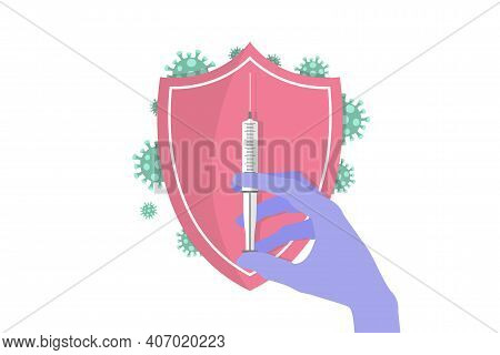 Doctor Or Nurse Hand In Medical Latex Glove Holding Syringe Coronavirus Vaccine. Security Shield For