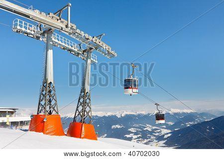 Gondolas At Alpine Ski Resort