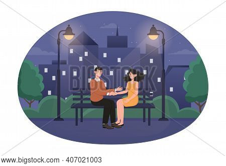 Happy Cute Couple On A Romantic Night Date. Male And Female Characters Are Sitting In A Summer Park.