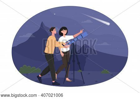 Happy Cute Couple Are Stargazing On A Romantic Night Date. Male And Female Characters Are Watching S