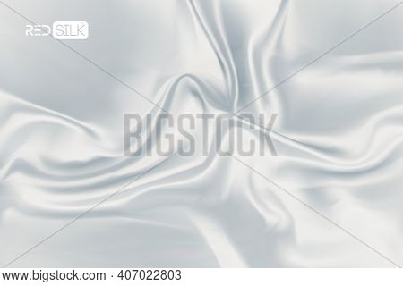 White Silk Background Vector. Light Wave Effect. Realistic Silk On Soft White Background. Eps 10.