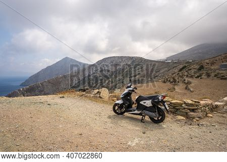 Folegandros, Greece - September 24, 2020: Scooter Parked In The Hilly Part Of The Island Of Folegand