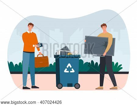 Two Male Characters Are Recycling E-waste. Two Men Are Throwing Broken Tv To Litter Bin For Electron