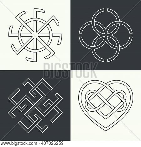Set Of The Ancient Symbols Executed In Linear Style. Ancient Signs, Knots And Weaves.  Concept Of Se