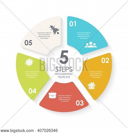 Vector Circle Infographic Template For Round Diagram, Graph, Web Design. Business Concept With 5 Ste