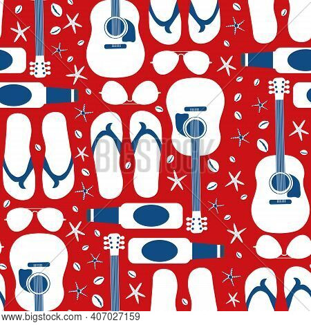 Beach Party Vector Seamless Pattern Background. Backdrop With Acoustic Guitars, Beer Bottles, Flip F