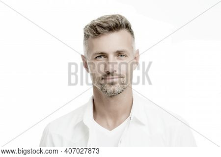 Kind Glance. Male Natural Beauty. Man Attractive Well Groomed Facial Hair. Barber Shop Concept. Barb