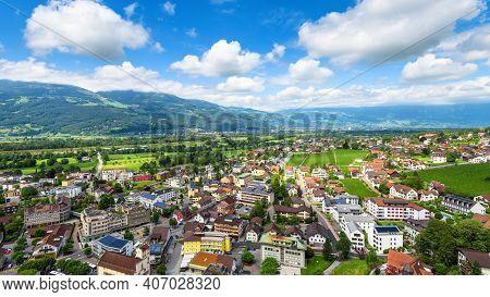 Skyline Of Vaduz, Principality Of Liechtenstein. Scenic Aerial View Of City In Swiss Alps. Panorama