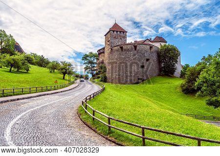Vaduz Castle In Liechtenstein, Europe. Old Royal Castle Is Landmark Of Liechtenstein And Switzerland