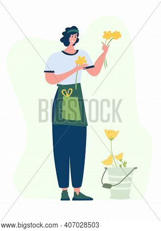 Woman Compose Bouquet On Table. Forist Shop Or Store. Floristry Handicraft On White. Flat Vector Car