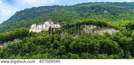 Landscape Of Mountains With Vaduz Castle, Liechtenstein, Europe. It Is Landmark Of Swiss Alps. Panor