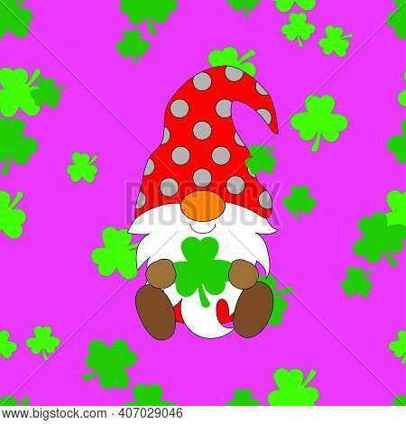 Seamless Pattern Pink Background Gnome Saint Patrick Lucky, Irish, Shamrock In Red Suit And Red Hat