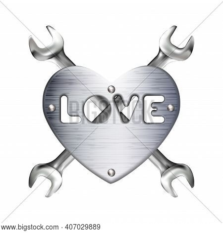 Crosshairs Of Realistic Hand Wrench Or Spanner And Metal Heart With Caption Love, Isolated On White
