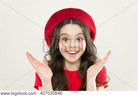 Smiling Cutie. Small Child With Cheerful Smiling Face On Yellow Background. Little Girl Happy Smilin