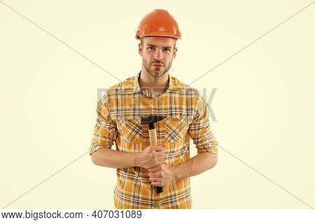 Wake Up Masters In Yourself. Inspired Guy With Hammer. Improvement And Renovation. Man Builder Or In
