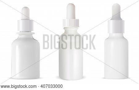 White Dropper Bottle. Cosmetic Eye Serum Mock Up. 3d Vector Eyedropper Packaging Mockup. Small Vial