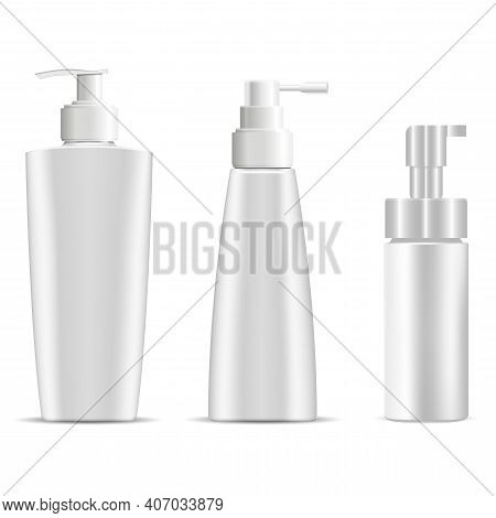 Pump Bottle Mockup. Cosmetic Shampoo Or Soap Plastic Bottles. Body Moisturizer Cosmetic Package With