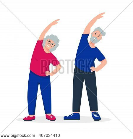 Elderly Couple Doing Sport Exercises. Finess For Senior Man And Woman Or Family. Active And Healthy