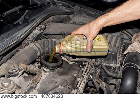 Varna, Bulgaria - Feb 5, 2021: 1l Plastic Bottle Of Motor Oil Castrol Edge Fst 5w-30 Ll. Advanced Fu