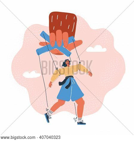 Vector Illustration Of Woman Puppet Marionette In Someone Giant Hands. Control And Manipulating Conc