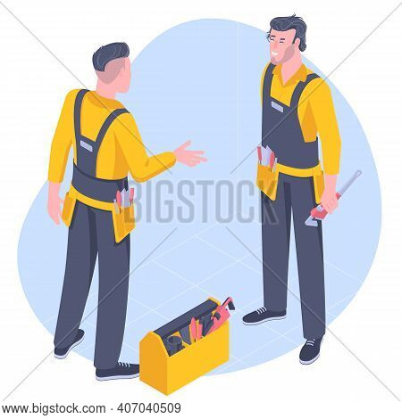 Flat Design Vector Isometric Concept For Plumber Service . Vector Image Plumber Character In Uniform