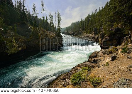 Yellowstone River Just Upstream From The Brink Of The Upper Falls In Yellowstone National Park